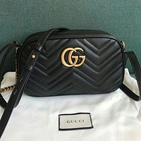 GG solid color sewing thread letter buckle ladies cosmetic bag chain messenger bag shoulder bag