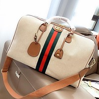 GUCCI New fashion stripe canvas luggage shoulder bag crossbody bag handbag