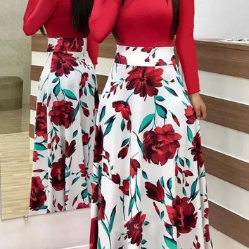 Womens summer floral printed dress fashion ladies slim fit long sleeve wave point printed party swing long dress plus size clothing S-5XL