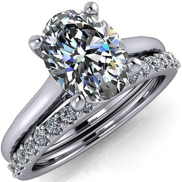 Willie Oval Center Stone Bow Under Cathedral Engagement Ring