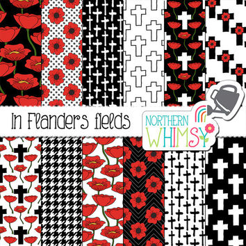 """Poppy Digital Paper - """"In Flanders Fields"""" - Remembrance Day scrapbook paper - poppy and cross seamless patterns in red white & black -CU OK"""
