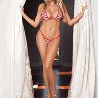 Red and White Stripes Sexy Micro G-String Bikini 2pc Mini Thong Small Top w Red