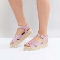 Head Over Heels by Dune Flatform Espadrille with Pink Glitter Straps at asos.com