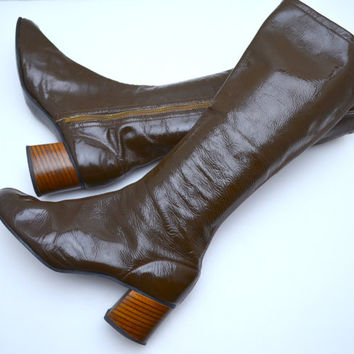 Vintage Go Go Boots, Podocelli by Henri Footwear, Shiny Olive Green Patent Leather Boots, Stacked Wood Heel, 1960s