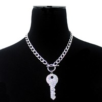 """10.50"""" crystal round key choker toggle necklace .40"""" earrings"""