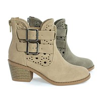 Jem2 By Soda, Girl's Ankle Booties On Block Stack Heel & Floral Cutout. Children Kids