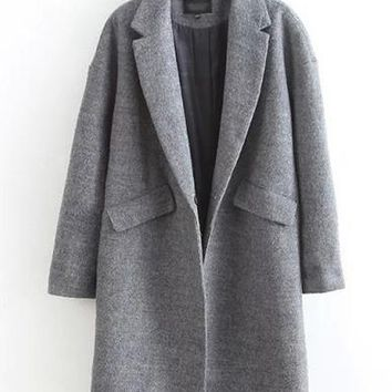 Trendy Lapel Flap Pockets Wool Coat in Cocoon Fit   Gray