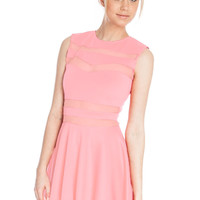 Light Pink Mesh Panel Club Skater Dress