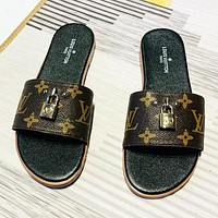 LV New fashion monogram tartan print women flip flop slippers shoes