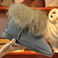 """UGG"" Women Fashion Fox Fur Snow Boots Calfskin Shoes"