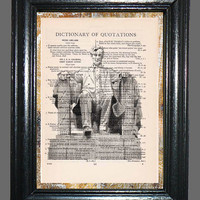 Lincoln Memorial Statue - Vintage Dictionary Book Page Art, Upcycled Book Art Print on Dictionary Page, Lincoln Print