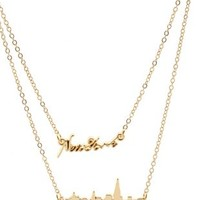 Gold Layered New York Charm Necklaces - 2 Pack by Charlotte Russe
