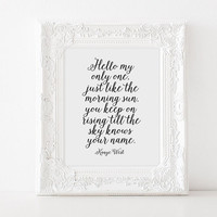 "KANYE WEST QUOTE ""Only One"" Lyrics Quote,Kanye West Quote,Good Morning,Gift For Her,Gift For Girlfriend,Lovely Words,Typography Quote,Wall"