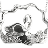Swan Necklace: Large sterling silver pendant with long chain