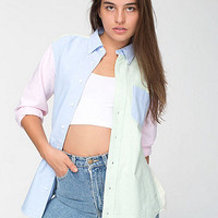 American Apparel - Unisex Colorblock Stone Wash Oxford Long Sleeve Button-Down with Pocket