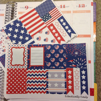 Erin Condren Stickers  - Stars and Stripes Stickers | 4th of July Stickers | Weekly Stickers |Filofax | Planner | Journal