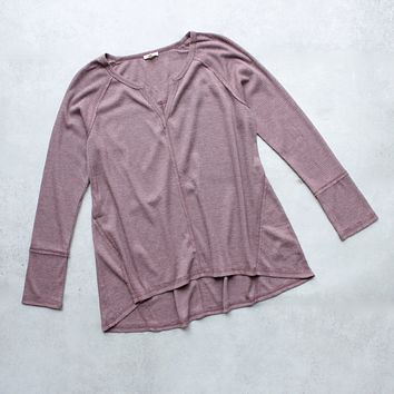 SH Thermal Long Sleeve V-Neck Top in Dusty Pink