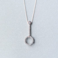 Simple crystal long bar necklace+ Gift box ALQ1024N