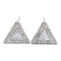 Silver Crystal Triangle Earrings