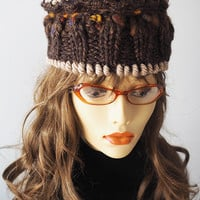 Chunky brown hat / Multicolor crochet cap / Fall color beanie / OOAK crown / one of a kind pillbox / Hand knit fall accessories / Womans