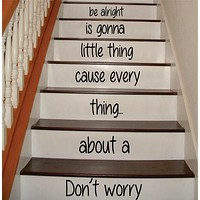 Dont Worry Bob Marley Stairs Decor Decal Sticker Wall Vinyl Art
