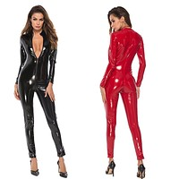 Latex Look Faux Leather  Catsuit