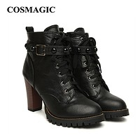 2017 New Winter Women Black High Heel Martin Boots Buckle Gothic Punk Ankle Motorcycle Combat  Boots Shoes