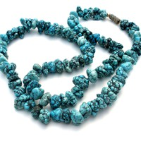 """Turquoise Blue Nugget Howlite Bead Necklace 20"""""""