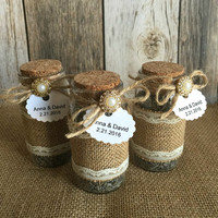 Rustic Wedding favors - lavender filled  burlap and lace glass bottles - bridal shower favors with personalized tags.