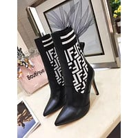 Fendi Women Fashion Leather Half Boots Heels Shoes