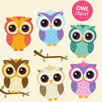 Owl clipart commercial use, digital animal clip art graphics - cute printable vector owls kawaii instant download