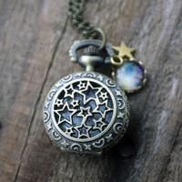Space and Stars Galaxy Pocket Watch Necklace