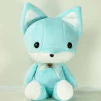 "Cute Bellzi Teal w/ White Contrast Fox Plushie Doll  11"" - Foxi"