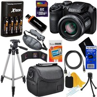 Fujifilm FinePix S4800 16.0 MP Digital Camera with 30x Optical Zoom Lens + 4 AA Batteries with Quick Charger + 11pc Bundle 32GB Deluxe Accessory Kit w/ HeroFiber Ultra Gentle Cleaning Cloth