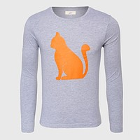 T-Shirt Men Long Sleeve Graphic Funny Slim Fit Print Top Tees Cat T Shirt Male Cotton Luxury O Neck White Black