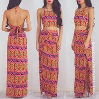 Chasing The Sun Two Piece Maxi Set