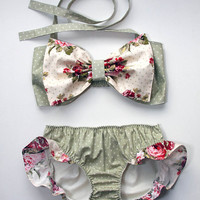 polka dot and floral bow bandeau set