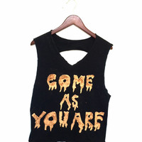 "Black Nirvana Tee - ""Come As You Are"" with Slashed Back"