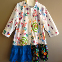Med -Plus Size 1X Artsy Hand Painted Upcycled Shirt/Tunic OOAK
