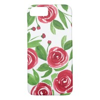 Sweet Roses Romantic Red - Watercolor Flowers iPhone 7 Case