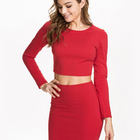 Long Sleeve Backless Cropped-Top