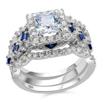 SHIPS FROM USA 2.2 Ct 3 Pcs Solid 925 Sterling Silver Halo Wedding Ring Sets Princess Cut CZ Blue Side Stone Classic Jewelry For Women