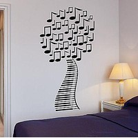 Wall Stickers Musical Tree Music Piano Sheet Art Mural Vinyl Decal Unique Gift (ig1992)