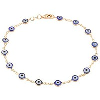Gold Overlay with Navy Blue Mini Evil Eye Style 10 Inch Anklet
