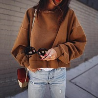 Women Casual Simple Solid Color Bat Sleeve Long Sleeve Loose Sweater Tops
