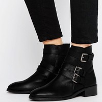 ASOS ALASKA Leather Multi Buckle Boots at asos.com