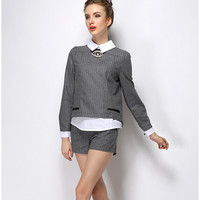 Block Beaded Long-Sleeve Collared Shirt With Paired Shorts