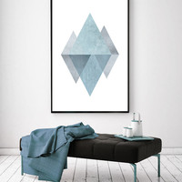 Printable Art, Modern Mid-Century Art , Blue Abstract Poster, Printable Triangle Art, Scandinavian Print, Modern Print, Modern Nordic Print