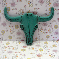 Longhorn Cast Iron Cow Skull Aqua Turquoise Western Accent Rustic Boho Bathroom Southwestern Wall Decor Bull Head Country Western  Man Cave