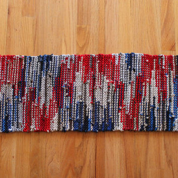 Nautical Table Runner Red White Blue Navy Gray Americana Cottage Country Artisan Knitted Upcycled TShirts 12x36 --US Shipping Included